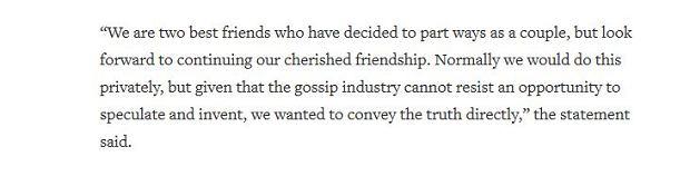Oświadczenie Jennifer Aniston i Justina Therouxa