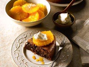 Czekoladowe clafoutis z karmelizowanymi pomarańczami