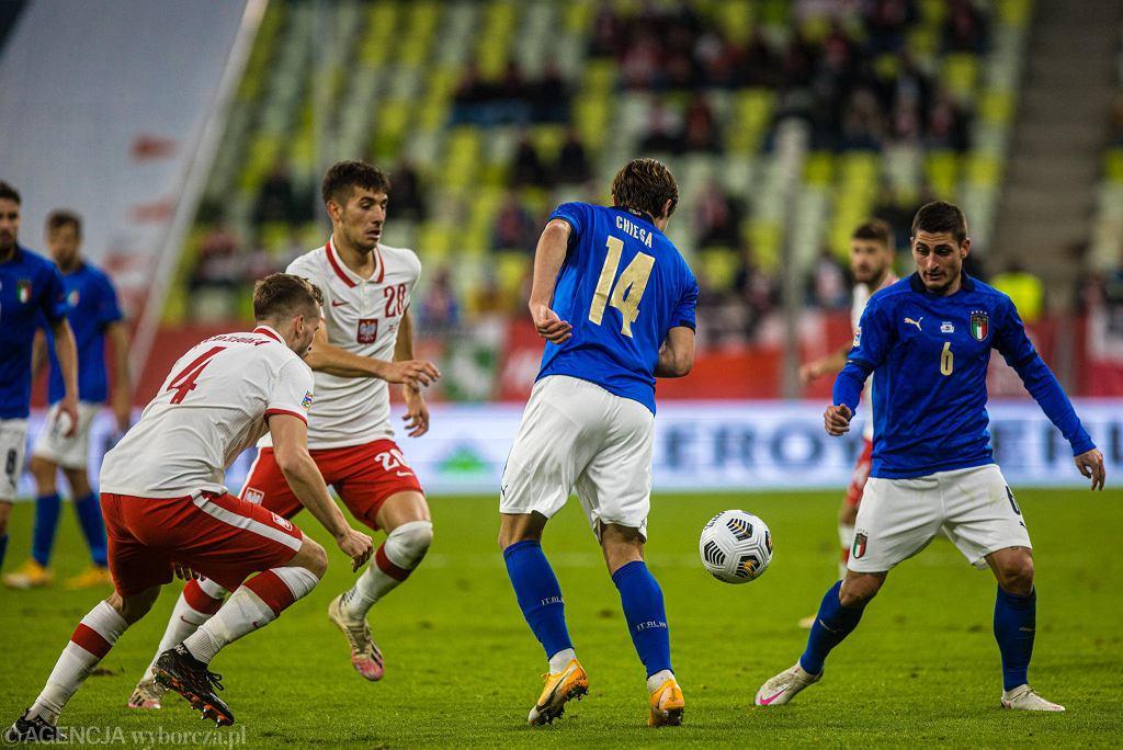 Stadion Energa. Polska - Włochy 0:0. Pierwszy z prawej Marco Verratti