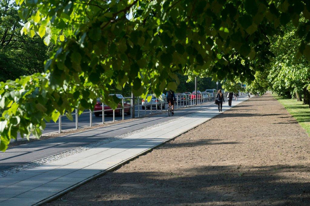 Tak wyglądają barierki obok drogi dla rowerów przy ul. Żwirki i Wigury