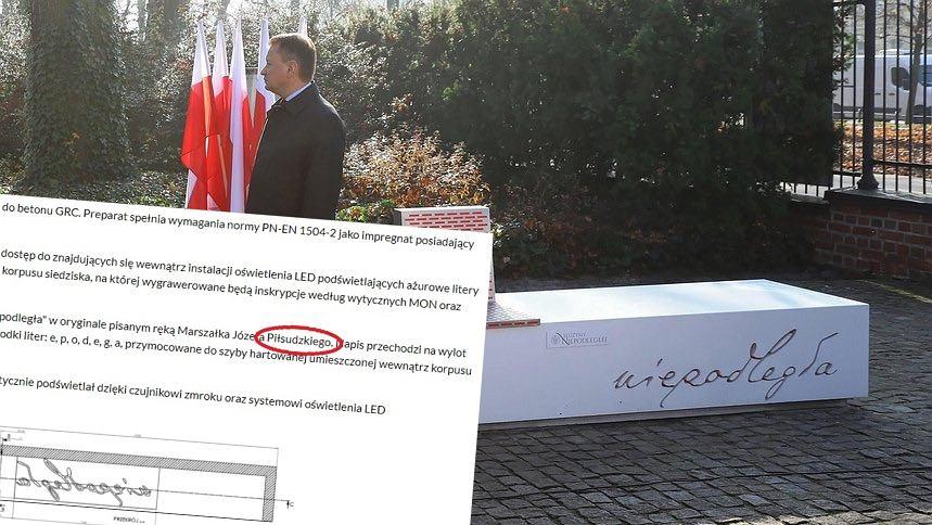 Autorzy ławek 'niepodległości' popełnili błąd ortograficzny