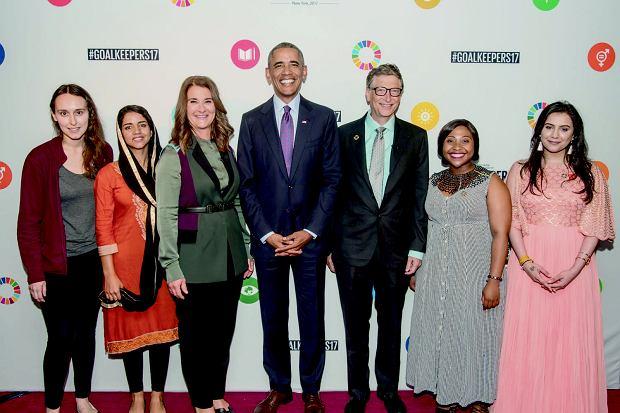 Sabrina Gonzales Pasterski, Barack Obama, Bill Gates - zdjęcie ze spotkania Bill & Melinda Gates Foundation