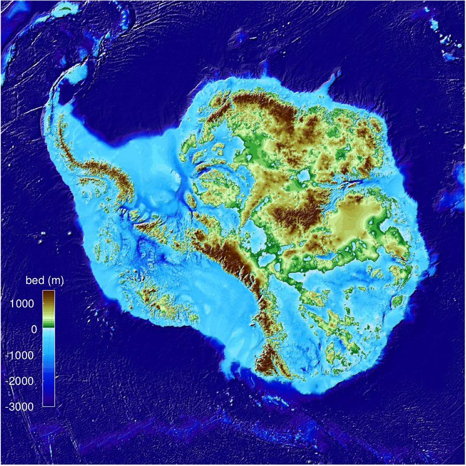 Antarktyda bez lodu - mapa topograficzna opublikowana 12.12.2019 r.