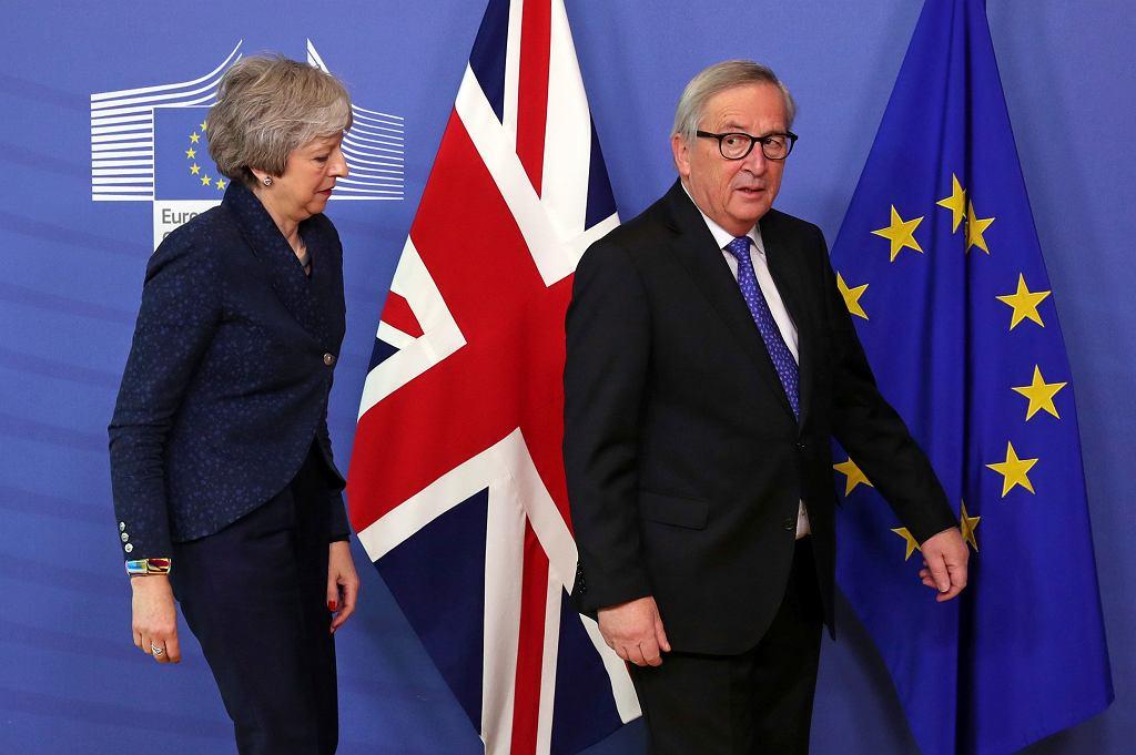 Brexit. Theresa May i Jean-Claude Juncker w Brukseli, 7 lutego 2019