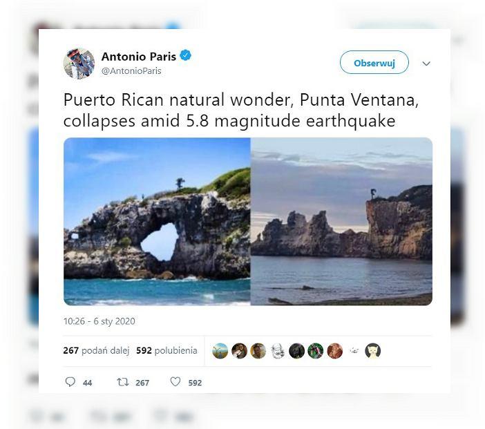 Portoryko straciło atrakcję turystyczną. Zawaliła się w czasie trzęsienia ziemi