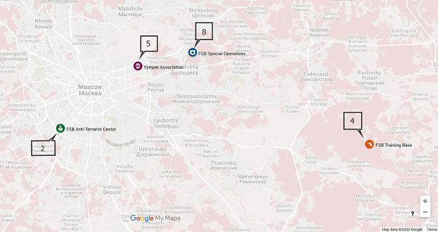 Miejsca związane z FSB 'odwiedzane' przez telefon Krasikowa w miesiącach poprzedzających zamach