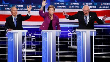 Debata prezydencka Demokratów. Od lewej: Mike Bloomberg, Elizabeth Warren, Bernie Sanders