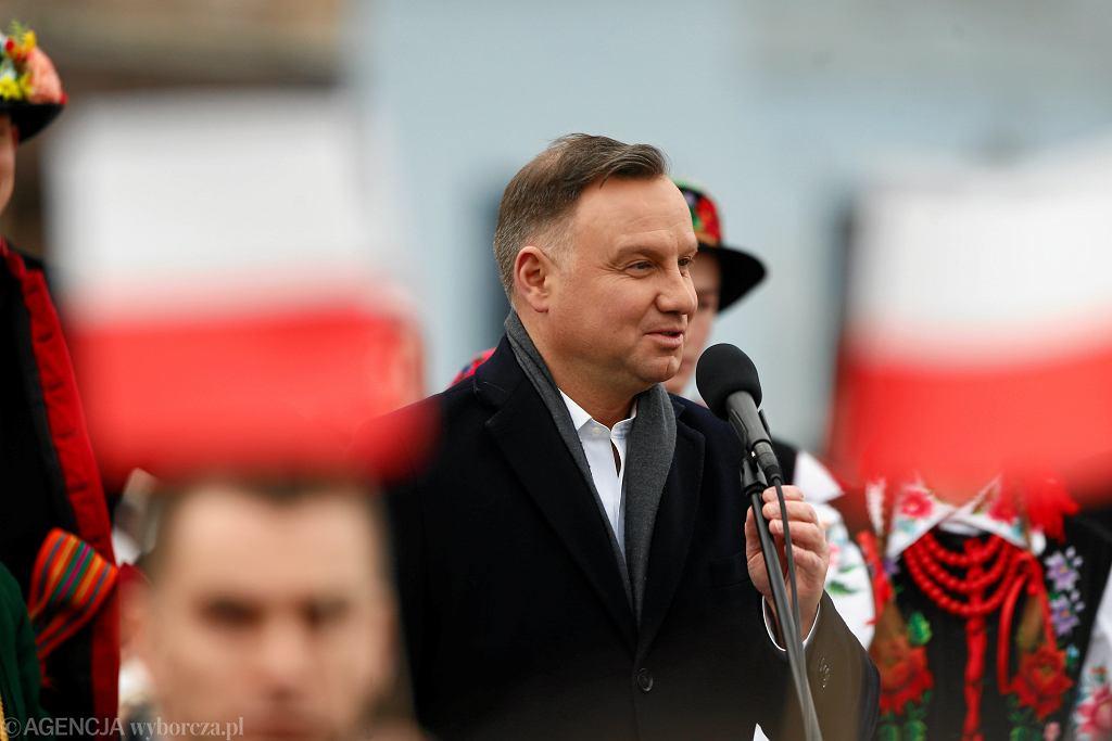 Andrzej Duda podczas spotkania z wyborcami w Łowiczu.