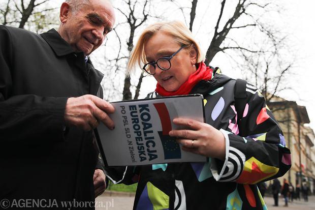 Róża Thun podczas konferencji prasowej  przed wyborami do Parlamenu Europejskiego i zbieranie podpisow pod lista Koalicji Europejskiej, 07.04.2019 Kraków