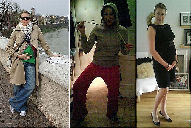 Czarny golf, obcisłe spodnie i falbanka pod talią - takie połączenie nie przypadło do gustu dziennikarzom zajmującym się modą.