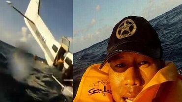 """Ogon Cessny i zdjęcie Ferdinanda Puentesa. Kadr z filmu """"Watch Dramatic Footage From Inside Plane Plunging Into the Ocean in Hawaii"""" i zdjęcie z portalu Twitter"""