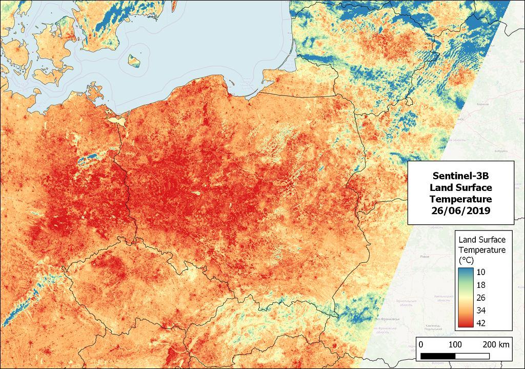 Temperatura powierzchni gruntu w dniu, kiedy padł rekord ciepła czerwca w Polsce