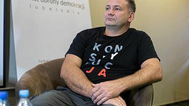 Lublin. Sędziowie Waldemar Żurek i Igor Tuleya podczas spotkanie z mieszkańcami miasta w sali hotelu Mercure