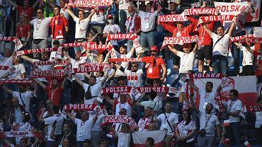 Kibice reprezentacji Polski na stadionie w Sankt Petersburgu podczas meczu Polska - Słowacja.
