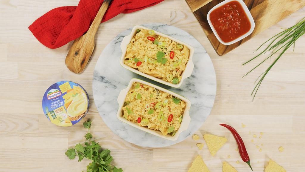 Meksykańskie mac'n'cheese z serkami Hochland Cztery Sery
