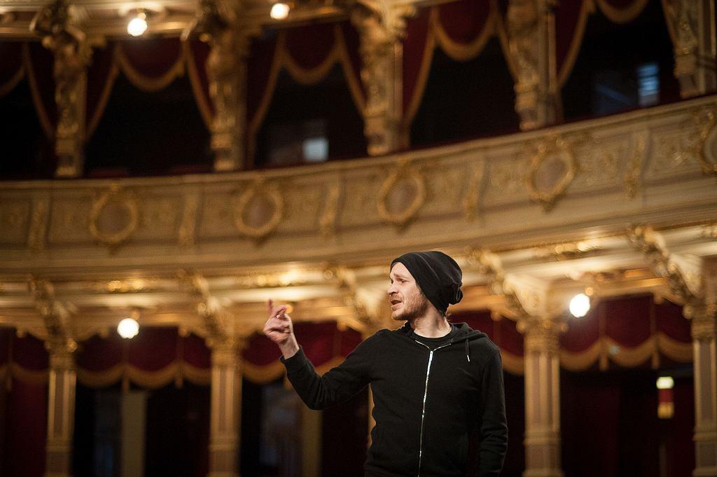 Remigiusz Brzyk na próbie w Teatrze im. J. Słowackiego / Fot. BARTOSZ SIEDLIK