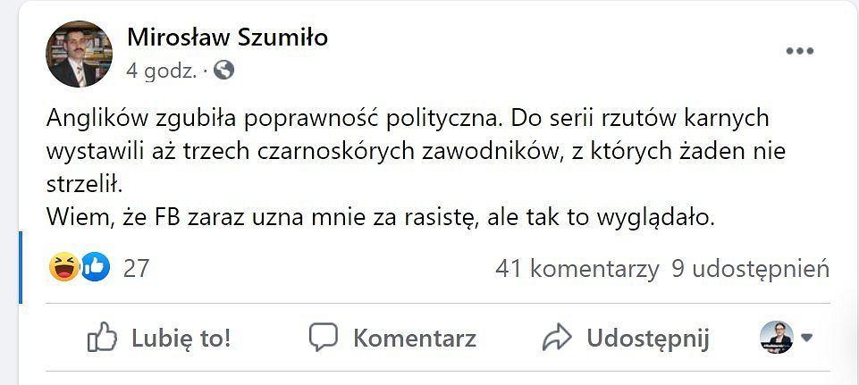 Usunięty wpis Mirosława Szumiły