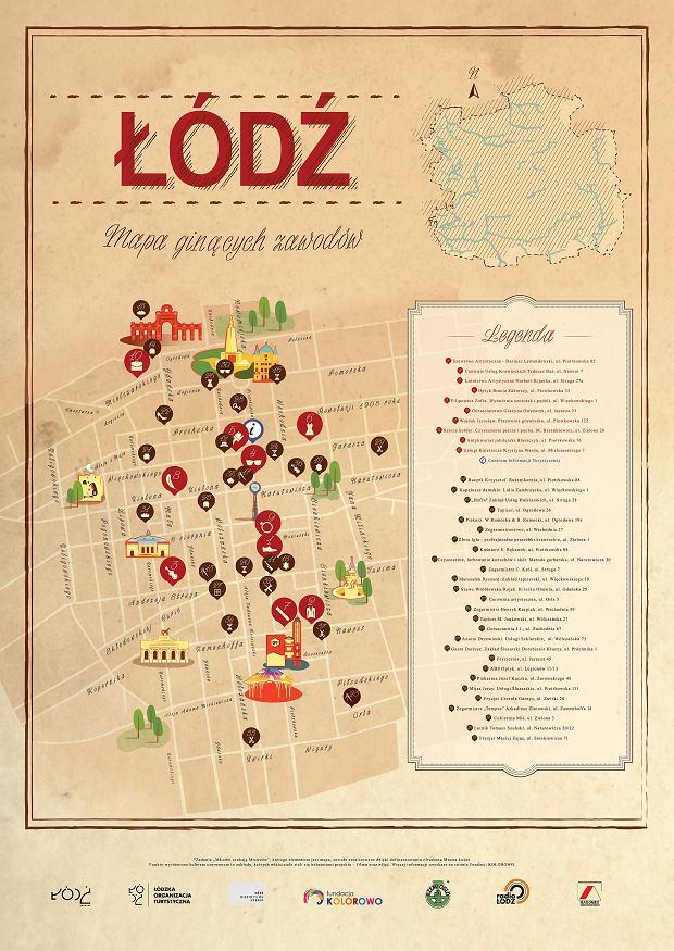 Mapa powstała w ramach projektu Młodzi szukają mistrzów, współfinansowanym przez Urząd Miasta Łodzi.