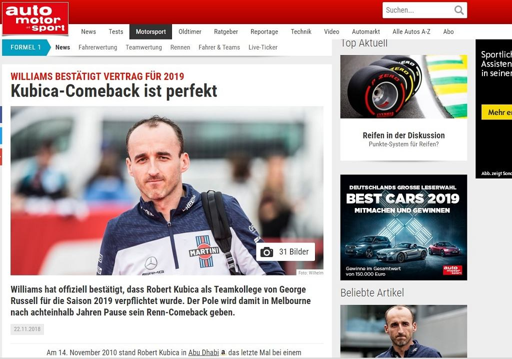 Światowe media komentują powrót Roberta Kubicy do F1