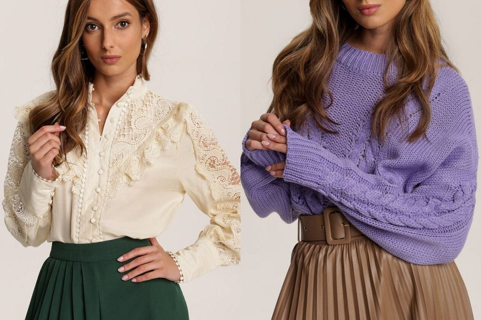 Lawendowy sweter i koronkowa bluzka o hity na jesień!