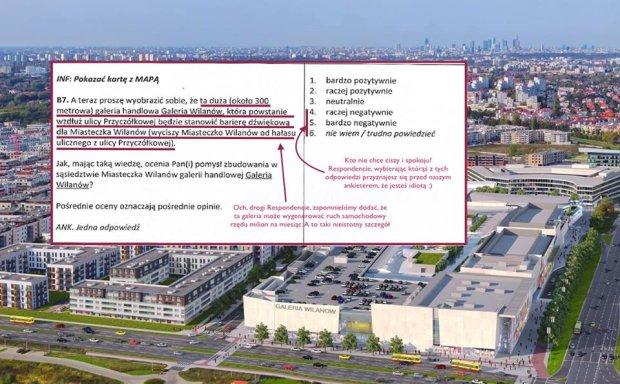 Ankieta w sprawie budowy Galerii Wilanów.