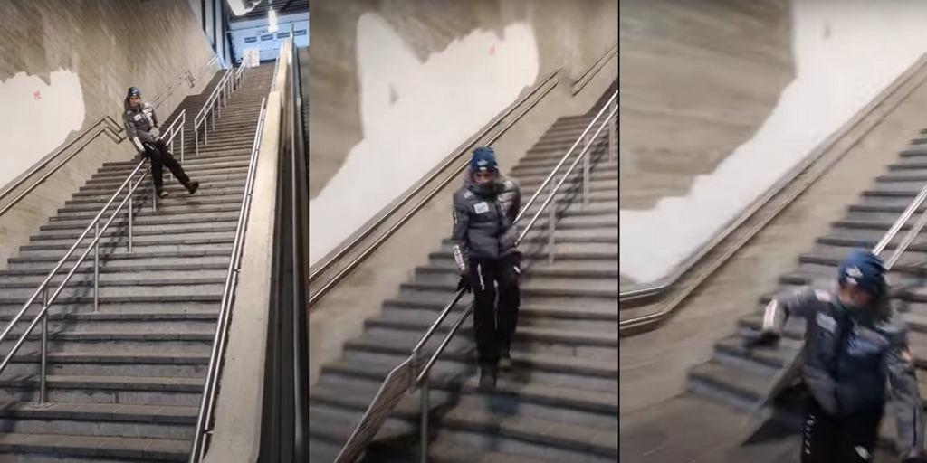 Piotr Żyła zjechał po poręczy na schodach. Ryzykowna zabawa reprezentanta Polski