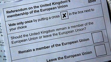 Karta do głosowania w brytyjskim referendum ws. UE