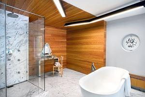 Drewno, kamień i szkło w łazience