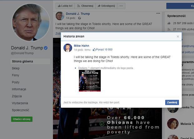 Niektóre wpisy na profilu Donalda Trumpa umieszcza ktoś inny