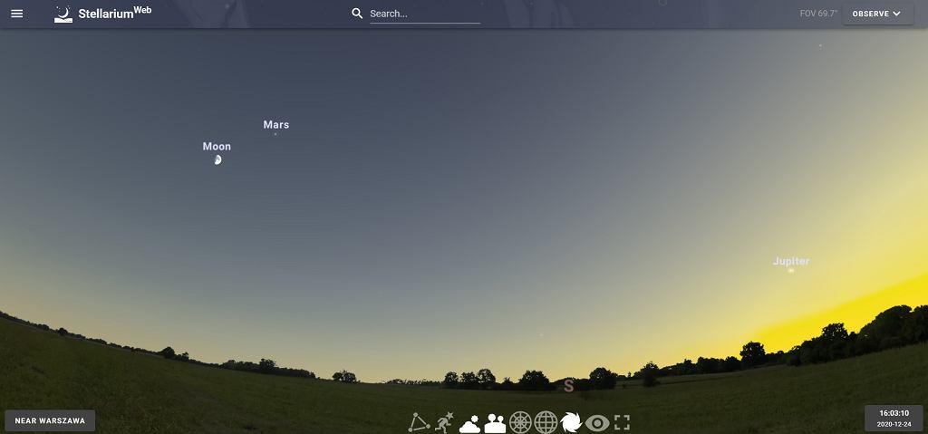 24.12.2020 widok nieba w okolicy Warszawy