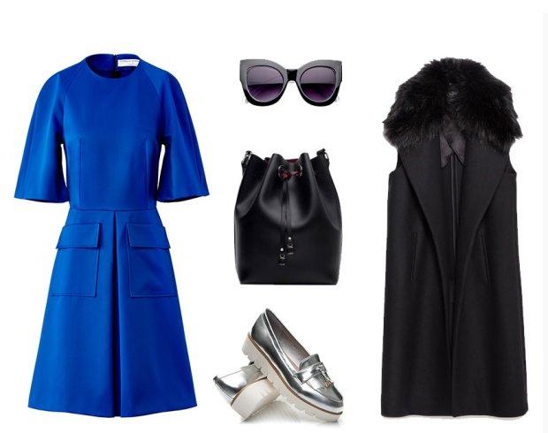 Sukienka La Redoute, buty czasnabuty.pl, okulary Domodi, kamizelka Zara