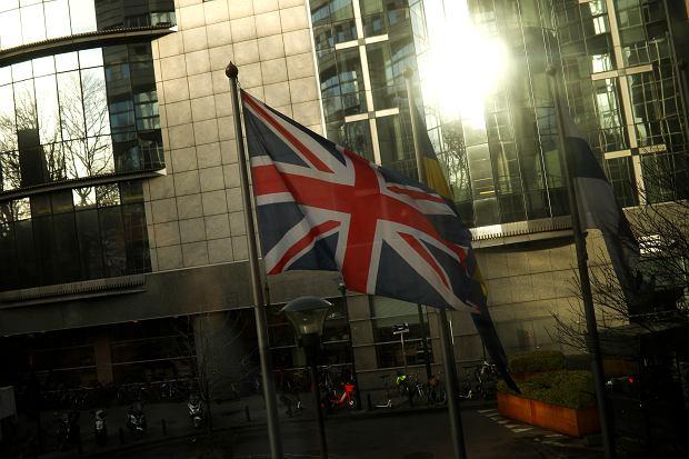 Brexit. Brytyjska flaga przed Parlamentem Europejskim w dniu 29 stycznia 2020