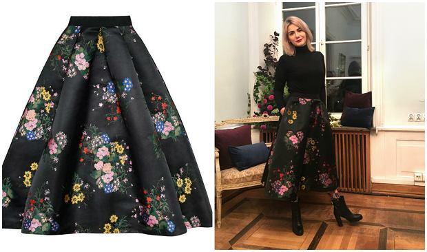 Spódnica z kolekcji Erdem dla H&M (599 zł) - na zdjęciu packshotowym i w przymierzalni