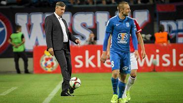 Wisła Kraków - Lech Poznań 2:0. Trener Maciej Skorża i Szymon Pawłowski