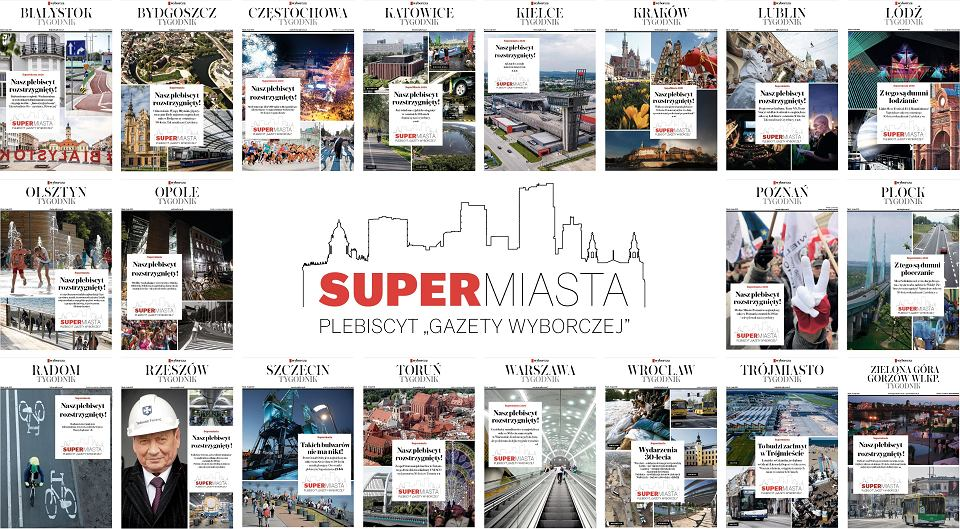Pierwsze strony tygodników lokalnych Gazety Wyborczej z wynikami plebiscytów Supermiasta