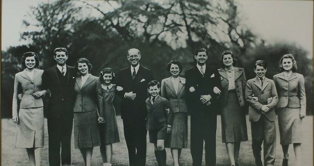 Eunice, John, Rosemary, Jean, Joseph P. Kennedy Sr., Edward, Rose Fitzgerald Kennedy, Joseph P. Kennedy Jr., Patricia, Robert and Kathleen, 1938