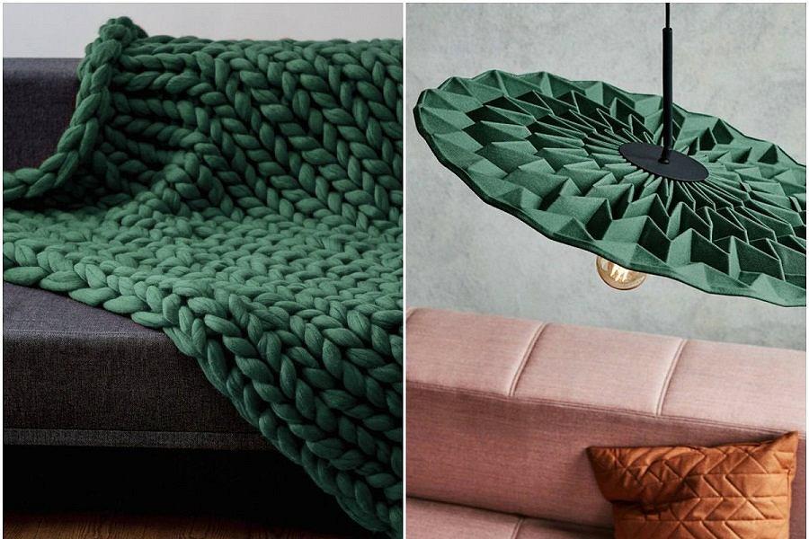 Oświetlenie i tekstylia w kolorze butelkowej zieleni.