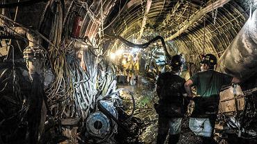 Górnicy w kopalni 'Budryk' w Ornontowicach.