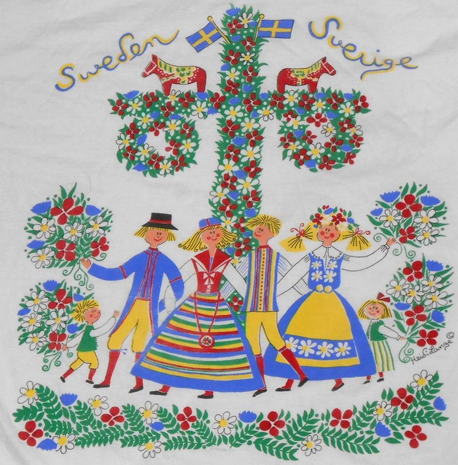 Tradycyjny wzór tkanin o motywie Midsommar / Flickr.com by Roger W, CC