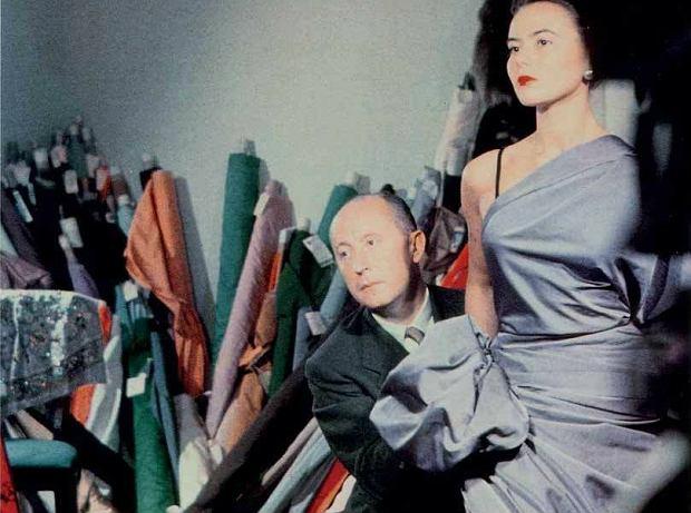 Christian Dior z modelką Sylvie, około 1948