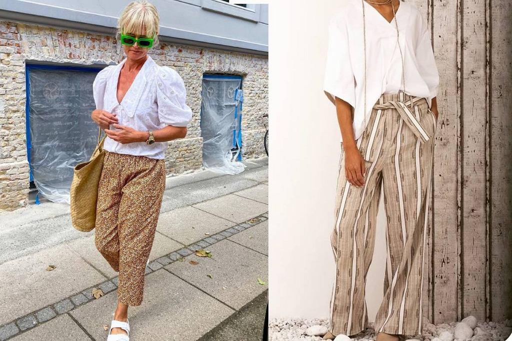 Spodnie materiałowe we wzory