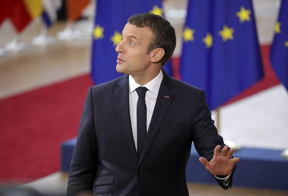 Prezydent Francji Emmanuel Macron podczas szczytu UE w Brukseli