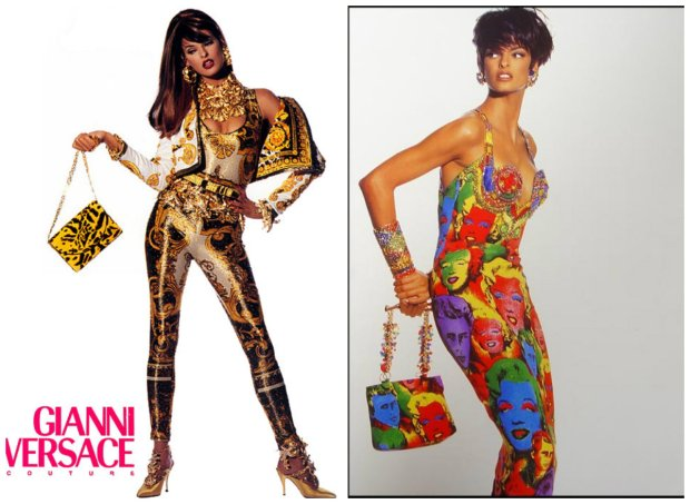 Linda Evangelista w kampaniach Versace, lata 80.