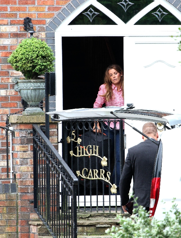 June 13, 2012 - Liverpool, Merseyside, United Kingdom - England WAG COLEEN ROONEY, the wife of England striker W.Rooney, leaving her house, to board her private jet to Poland to join Wayne as they missed time together on there 4 year anniversary yesterday. (Credit Image: ? Mercury Press/ZUMAPRESS.com)