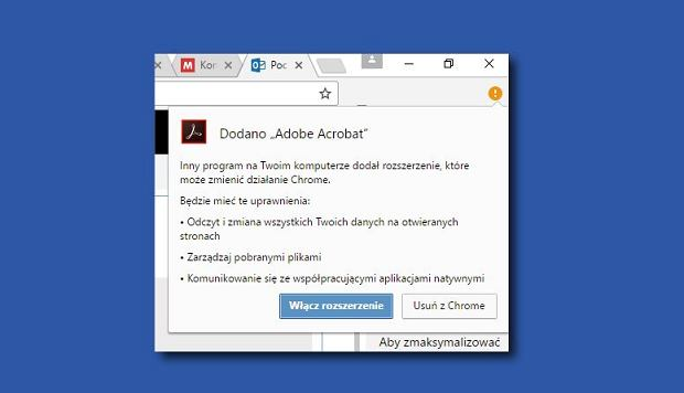 Adobe Reader sam dodaje wtyczkę do Chrome