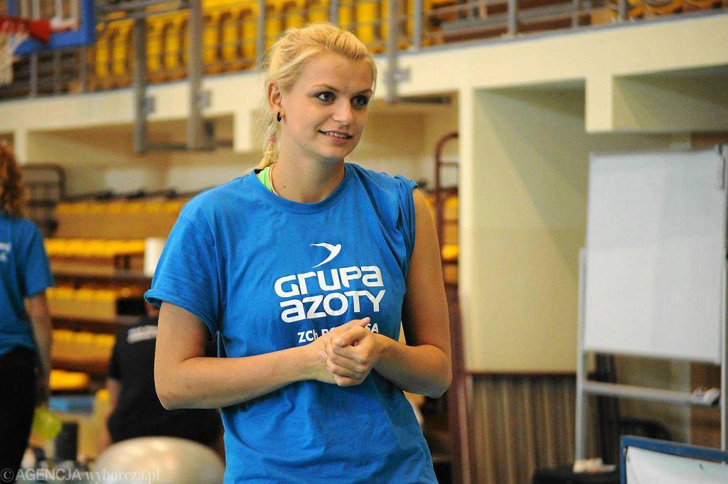 Dominika Sobolska na treningu Chemika Police w sierpniu 2013