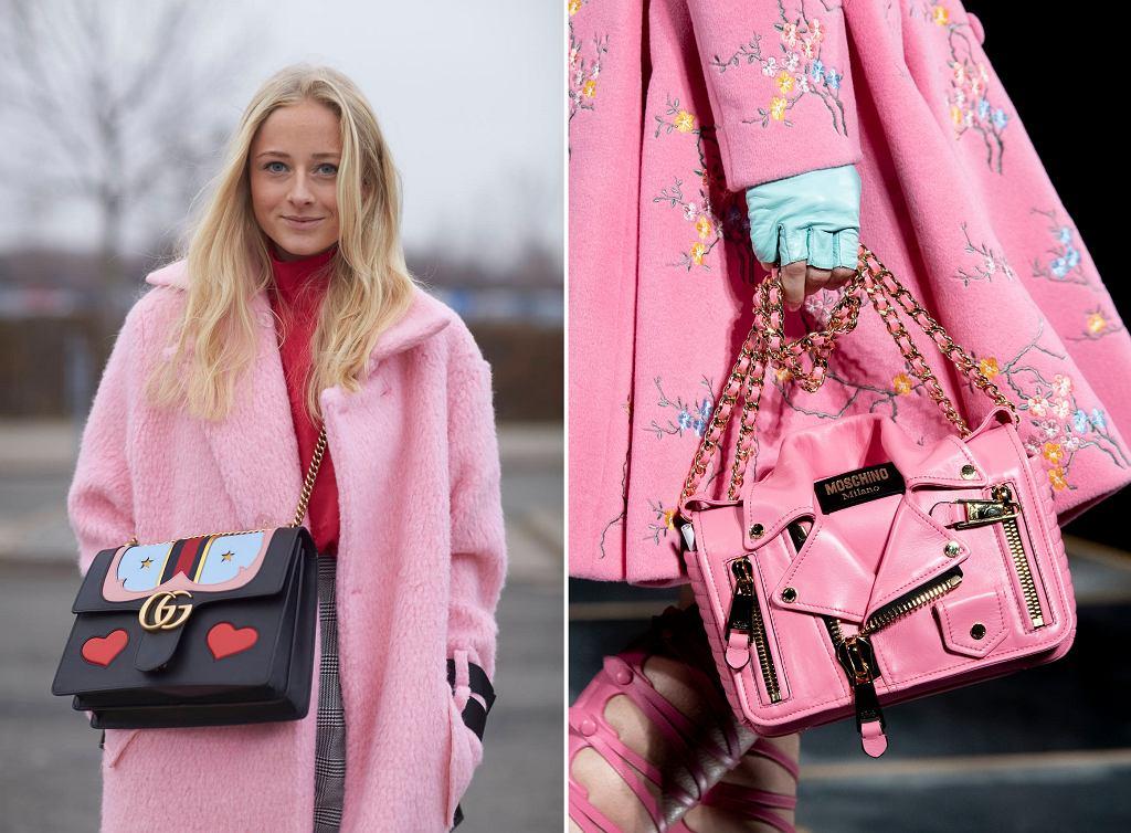 Kobieta w różowym płaszczu / Torebka i płaszcz z kolekcji Moschino