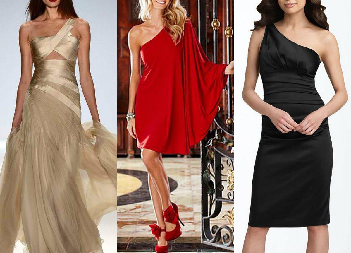 a21b2b6486c5a0 Sukienka na jedno ramię - gotowe stylizacje wieczorowe