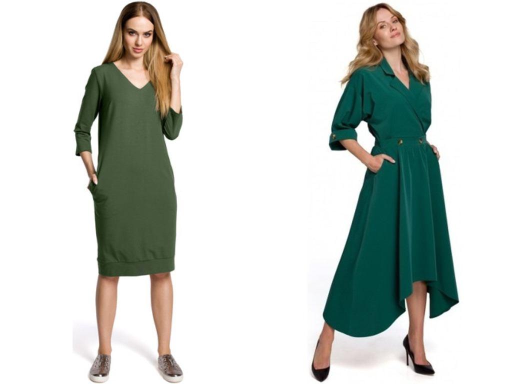 zielone sukienki z długim rękawem