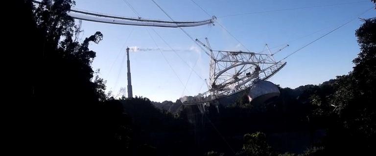 Katastrofa Teleskopu Arecibo nagrana z drona. Widać moment pęknięcia lin
